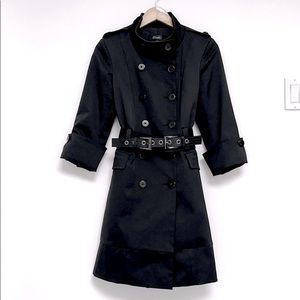 Made in Italy Black Trench Coat with Belt